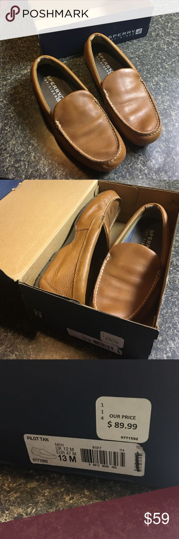 Sperry Top-Sider Men's Pilot Tan Slip On 13M Worn Once by hubby just don't fit his feet right and couldn't return etc etc ..... Will list as NWT attractive and comfortable Sperry Top-Sider Shoes Loafers & Slip-Ons