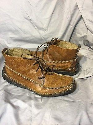 Ll Bean Masculino Couro Marrom Vintage Seixos Mocassim De Amarrar tornozelo Boot 10 condução