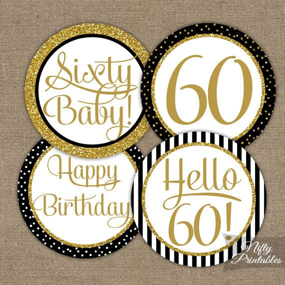 60th Birthday Cupcake Toppers - Black & Gold Glitter - Sixtieth Bday Party Printable - Elegant DIY Sixty Birthday Favor Tags Stickers - BGL