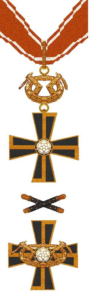 """Knights of the Mannerheim Cross --- Mannerheim Cross 1st Class (above) and 2nd Class (below) --- Awarded by Finland --- Type; Medal, two classes --- Eligibility; Military personnel --- Awarded for """"For extraordinary bravery, for the achievement of extraordinarily important objectives by combat, or for especially well conducted operations."""" --- Status; Still active de jure --- Statistics; First awarded July 22, 1941; Last awarded May 7, 1945 --- Total awarded; 197 --- Distinct recipients; 191"""