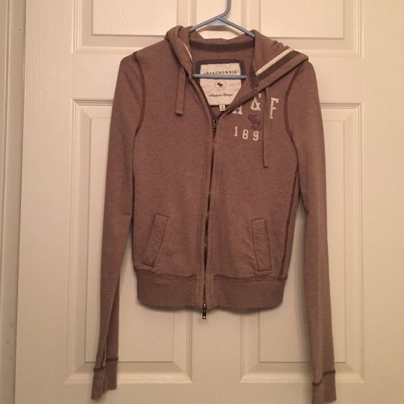 Abercrombie Zip Hoodie Abercrombie & Fitch light brown zip up hoodie. Super soft and comfy. Abercrombie & Fitch Jackets & Coats