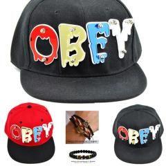 Aynalı Fleksi OBEY Yazılı Kırmızı Siyah Erkek - Bayan Şapka Cap