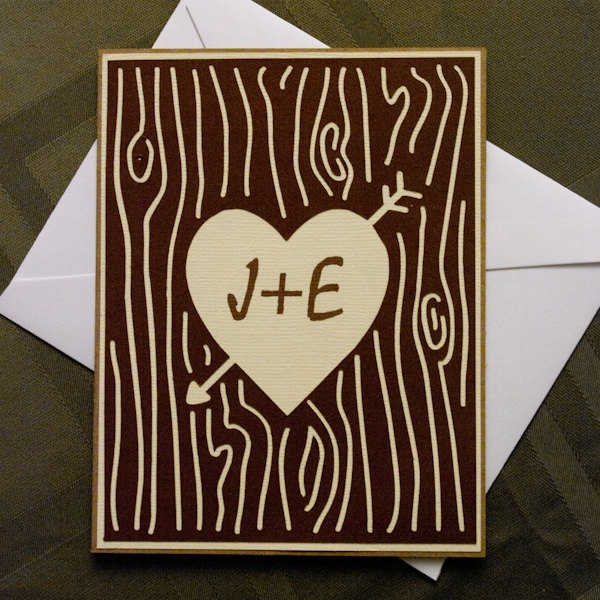 Custom Initials And Heart Carved In Tree Bark Card Trees