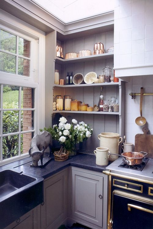 gray kitchen, great open shelving-mixed metals