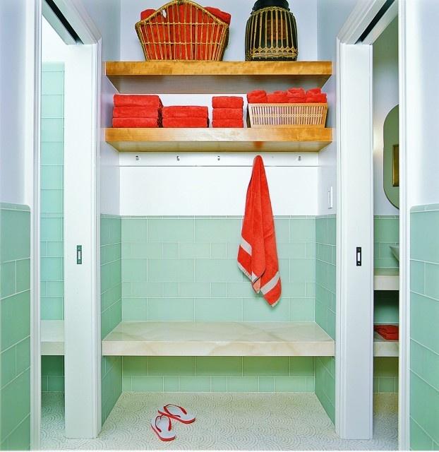 pool house locker.  I like this color combo