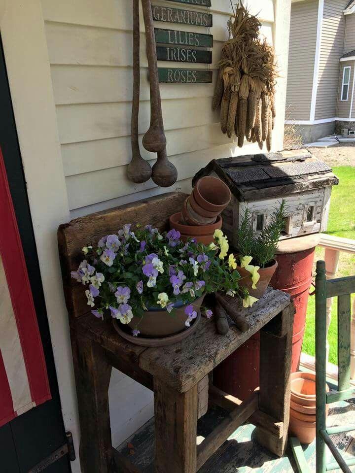 605 best images about primitive front porches on pinterest for Outdoor front porch decor