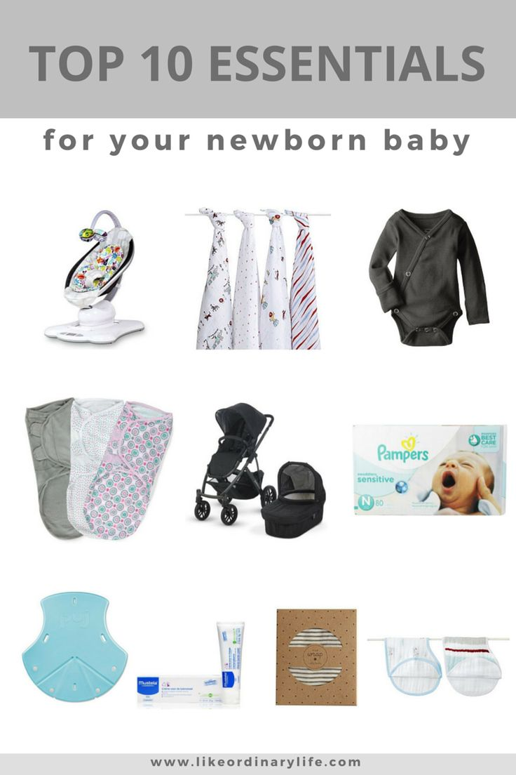 The top 10 essential items you need to have in the house when you bring home a newborn baby. Great list of items necessary for the first month baby is at home. Mamaroo, Aden + Anais swaddles, onesies, swaddle me's, UppaBaby Vista, Pampers wipes, Puj Tub, Mustela diaper rash cream, Solly Baby wrap, and Aden + Anais burpy bibs.
