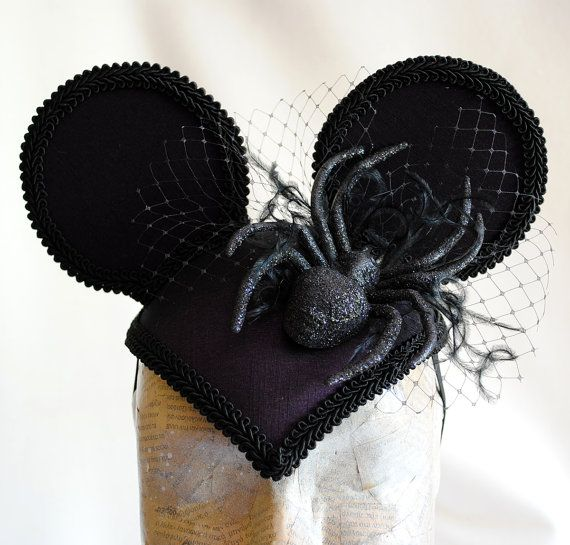 Gothic Minnie Mouse Ear Headpiece in Purple, with Sparkling Spider