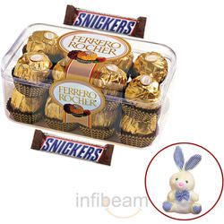 Ferrero Rocher and Snickers with free Teddy, 300 gm, buy chocolate online