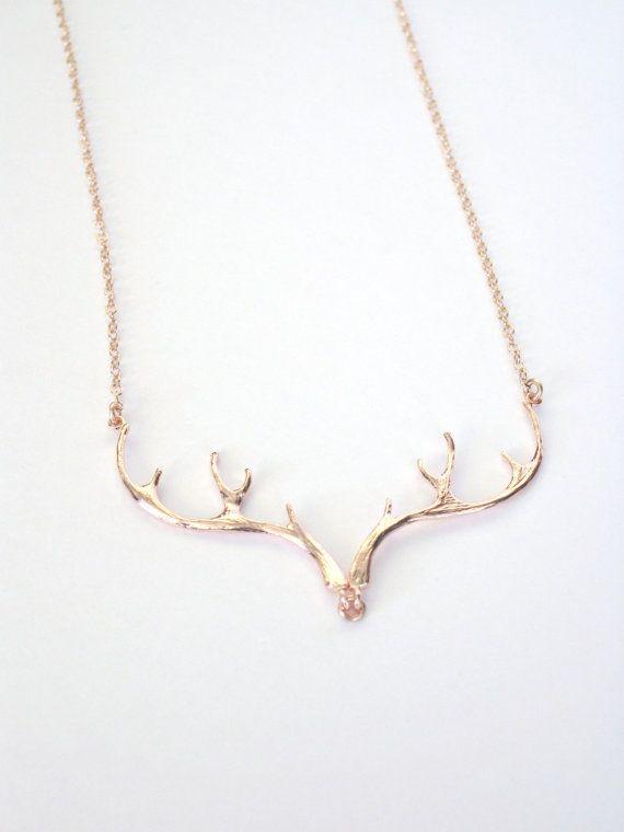 Rose Gold Antler Necklace Deer Antler by vintagestampjewels, $30.00