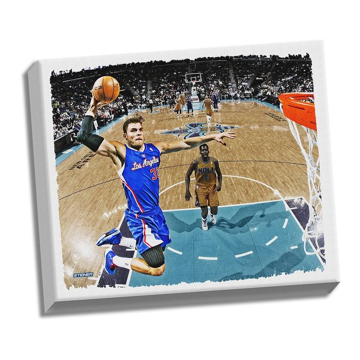 """Steiner Sports Los Angeles Clippers Blake Griffin Dunk 22"""" x 26"""" Stretched Canvas, Multicolor"""
