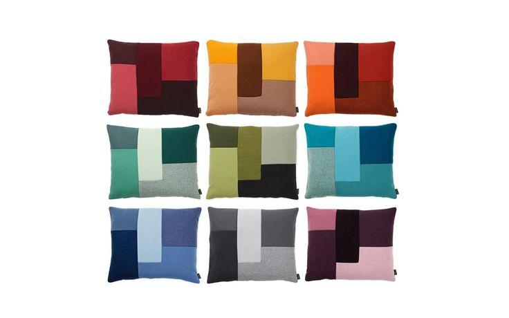 Brick Cushion red | Modern geometrical patchwork design