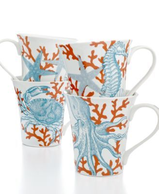images of 222 fifth dishes | 222 Fifth Dinnerware, Set of 4 Coastal Life Assorted Mugs