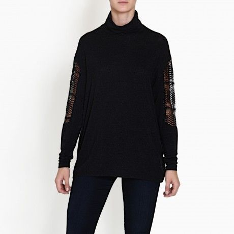 COM.SI BLACK TURTLENECK TOP WITH LACE
