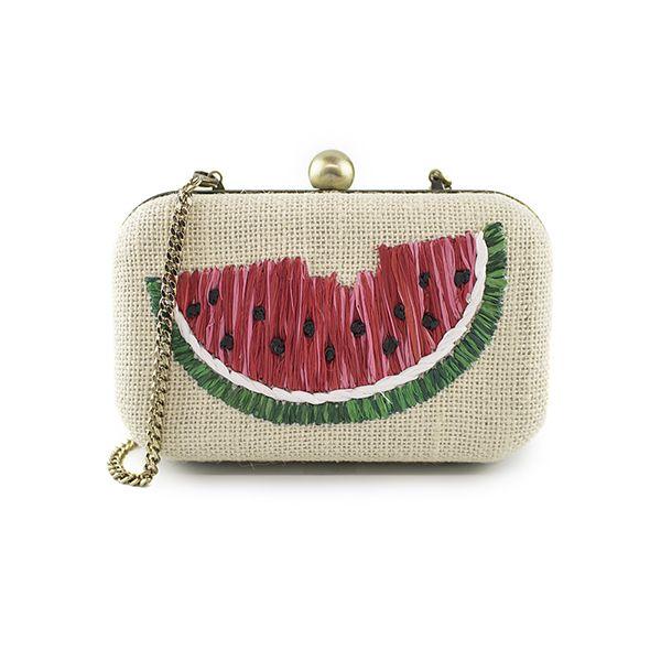 Watermelon raffia/Straw clutch bag   100% Vegan Handbags   100% Cute, Fun, and Whimsical   Chelsi Reis   Accessories   Beach & Travel