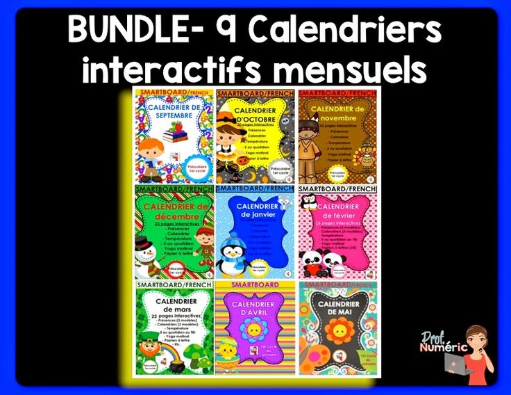 Ensemble de 9 calendriers interactifs #notebook/Mes produits disponibles en lots maintenant (BUNDLE) ! #deal #FSL #french #TBI #TNI #SmartBoard #edTech