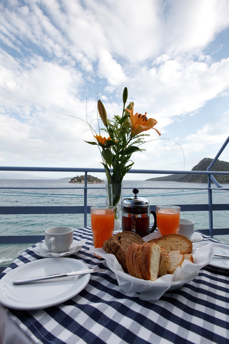Breakfast and view at Nelly's Hotel Tolo