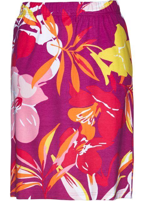 Bonprix skirt cotton pink hawaii floral print Shirtrok, bpc selection, violetorchidee/hibiscuspink gedessineerd