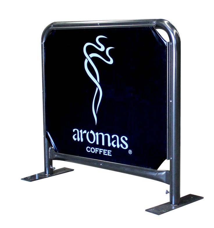 Our Cafe Barriers are strong, stable and carry invaluable advertising and real estate. This is a 1 metre barrier with vinyl sailtrack insert. Screen Print Sample