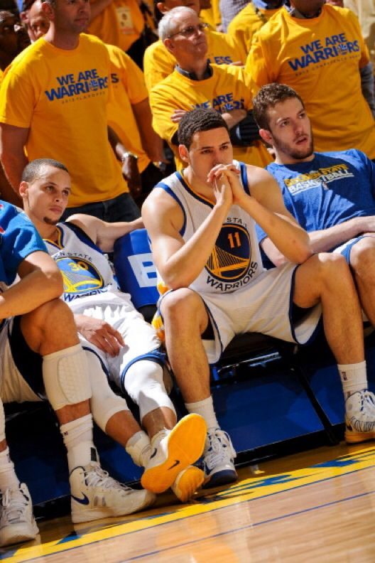 Golden State Warriors: Stephen Curry #30, Klay Thompson #11 and David Lee #10