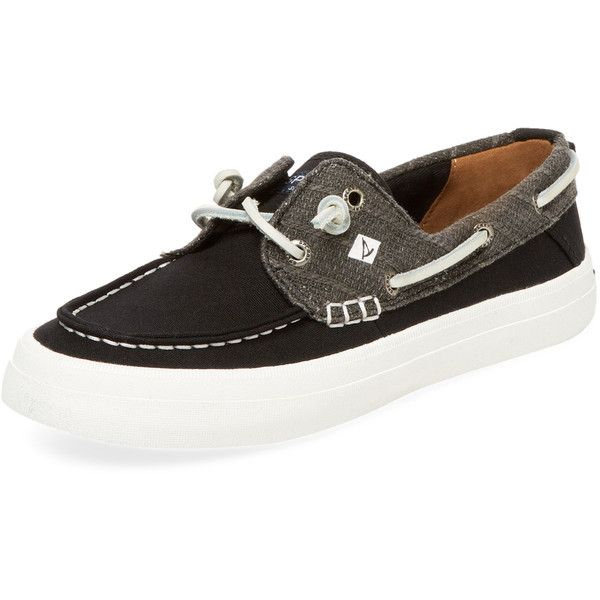 Sperry Women's Crest Resort Linen Boat Shoe - Black, Size 10 ($39) ❤ liked on Polyvore featuring shoes, black, sperry footwear, black boat shoes, sperry shoes, boat shoes and adjustable shoes