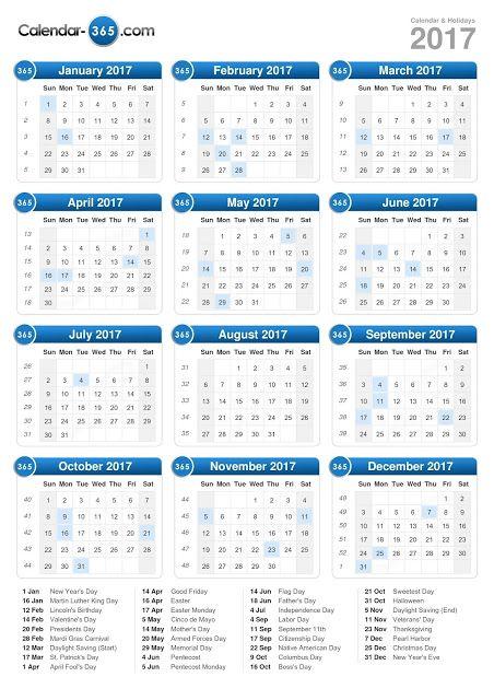 2017 Printable Calendar Blank Templates