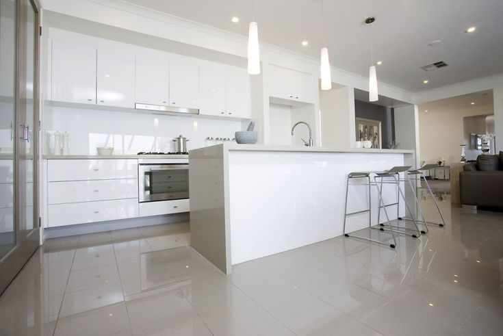 Kitchen Tiles - National Tiles (Stratos Light Grey Polished (300x600); Grout: Grey)