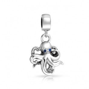 925 Silver Beach Octopus Crystal Dangling Charm Pandora Compatible $26