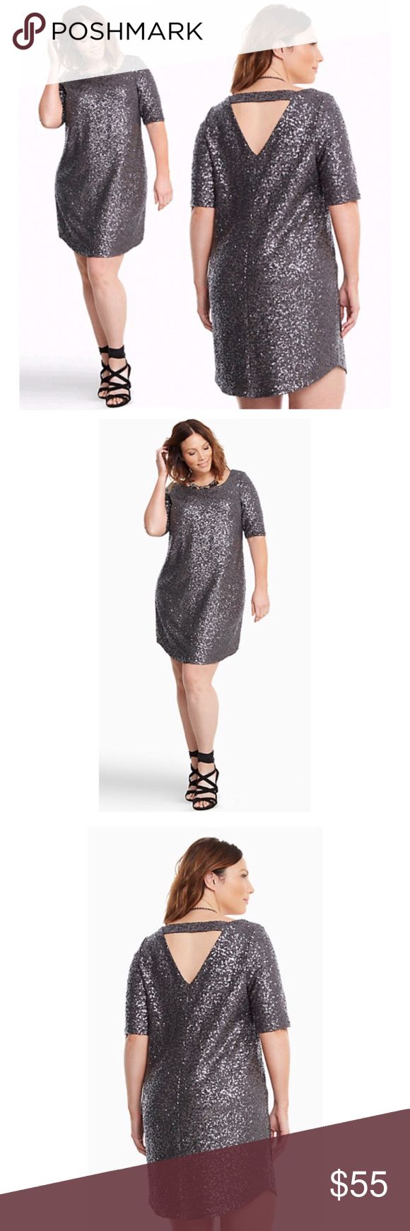 Gorgeous Glittery Grey Sequin Shift Shift Dress NWT Gorgeous Sequin Shift Shift Dress, Plus Size 2. Raise a glass because the party starts and ends with this shift dress. The scoop neck mini style literally has all the glitter with grey sequins lighting up the look from dusk till dawn, The throw-and-go style turns up the sex appeal with a strap cutout back. Fully lined (aka no scratchy sequins). Polyester/Spandex torrid Dresses