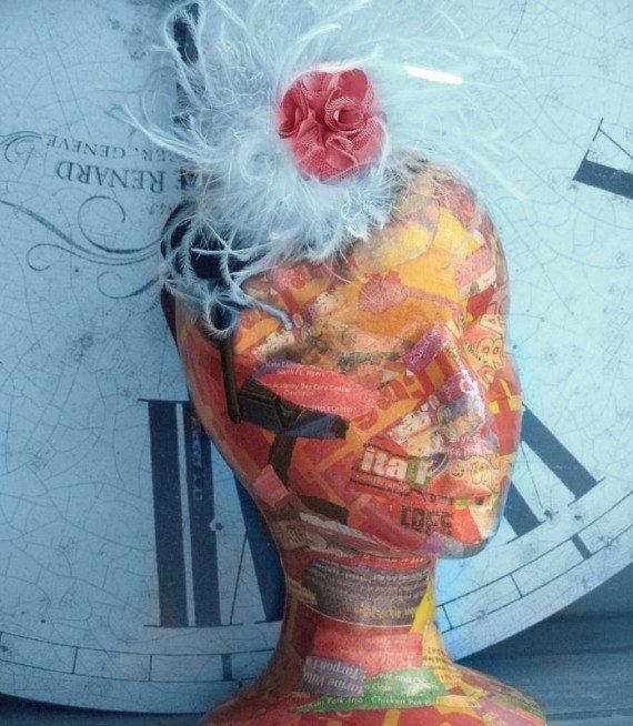 Styrofoam Head art   Paper Art Sculpture Mannequin Head Hat Stand Wig Stand Home Decor ...