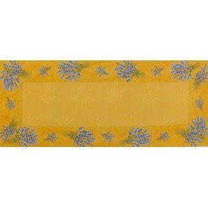 Rectangle Runner VALENSOLE 50x120 Yellow by JOJO LA CIGALE. $66.57. Sun patterned cotton/acrylic fabric, with printed cotton all around. Machine washable on cold temperature, the 50x120cm runner can be put on a rectangle or oval table, on a sideboard or on a coffee table. JOJO la CIGALE prepare your customized products specially for the south of France with our high quality fabrics provencaux