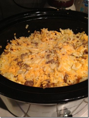 **This was VERY GOOD** I did add 1 can of Cream of Mushroom soup and I also added a little milk to my eggs in addition to the cup of milk that goes into it. Several people said they tried these crockpot brkfst casseroles & they were dry. So I added those 2 things & it was loved by all. Makes good burritos too w/salsa!
