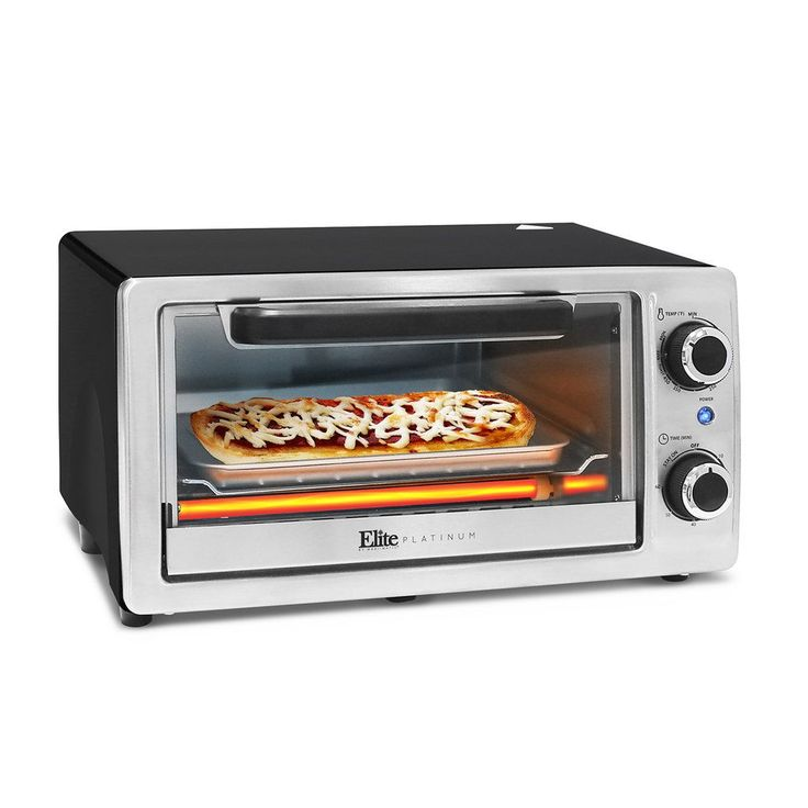 Elite Cuisine 4-Slice Stainless Steel Toaster Oven & Broiler, Multicolor