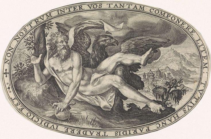 Crispijn van de Passe (I) | Jupiter, Crispijn van de Passe (I), 1592 | Landschap met Jupiter en zijn symbool de adelaar. Jupiter draagt een kroon en werpt een bliksemschicht. In de omlijsting een randschrift in het Latijn dat verwijst naar de rol die Jupiter speelde in het Oordeel van Paris. Hij wenst zich niet uit te spreken over de godinnen en vindt dat Paris een oordeel moet vellen. Prent uit een serie van zes met Goden en Godinnen.