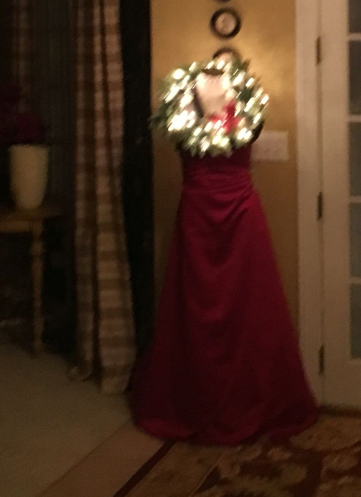 Dressed Mannequin to greet Holiday guests. Her name is Mary Christmas.