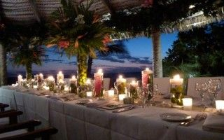 Fiji Weddings - Beautiful Wedding Table Set up on Sunset - Castaway Island, Fiji