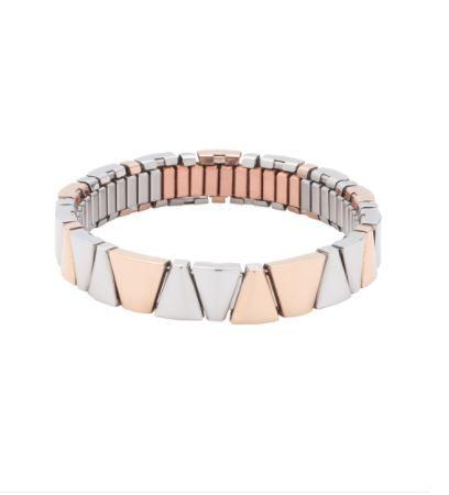 Das moderne Bicolor-Design aus Silber- und Roségold-Tönen macht dieses schmale Flexi-Armband zu einem trendbewussten Schmuckstück für jeden Tag.  https://magneticdiamonds.energetix.tv/flexi-armband-3285-de-1.aspx?skuid=1979&loc=de