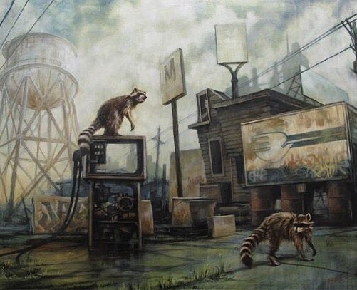 Post-apocalyptic cityscapes where nature has begun to reclaim dominance is a recurring theme in Brin Levinson's collection of haunting paintings. Influenced by the streets of his home town in Portland Oregon the artist paints familiar landmarks into his work as the old buildings and water towers are manifested into a source of nostalgic inspiration. Moody atmospheric lighting completes his surreal portraits forcing one to face a crumbling societal infrastructure in a speculative future…