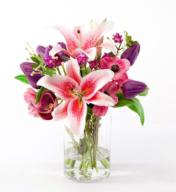 "Silk Pink Lily, Tulip, and Poppy Bouquet - 16"" Tall"