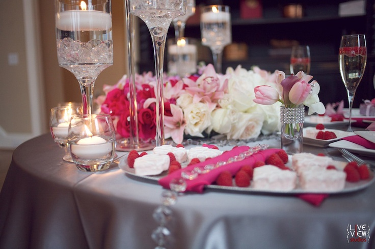 Crystals, candlelight and shades of pink & grey tabletop design