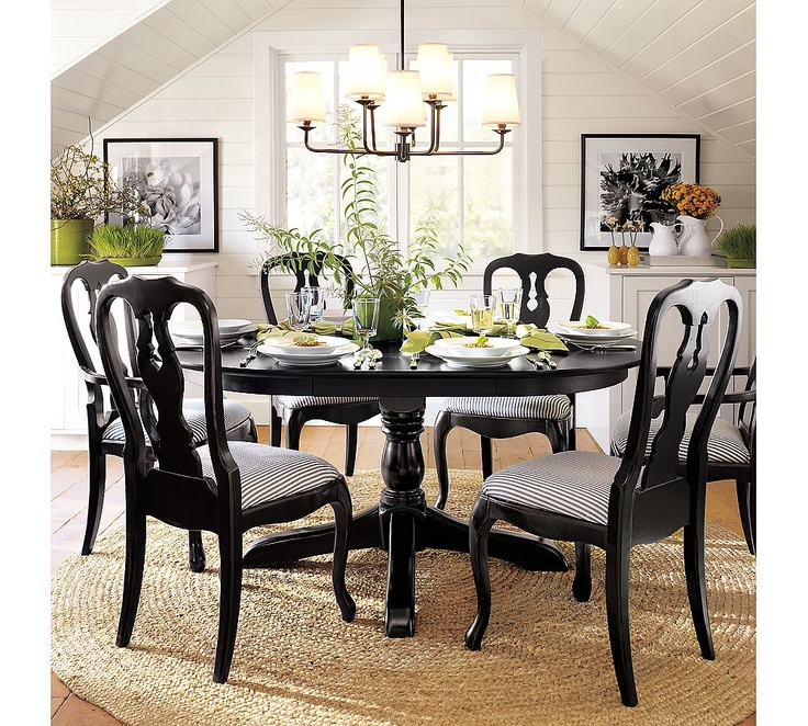 Dining room inspiration have the rug have a similar for Pottery barn dining room ideas