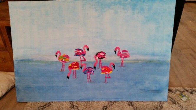 Flamingo schilderij voor de kinderkamer.