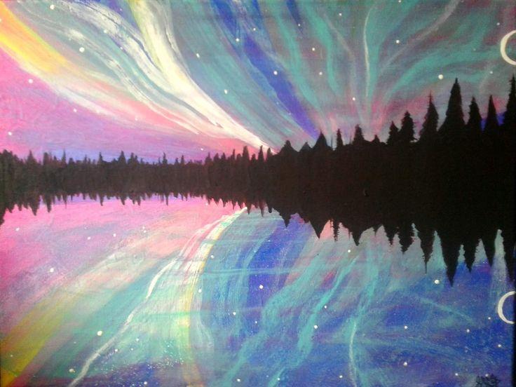 Rainbow sky~ acrylic on canvas. Northern Lights.