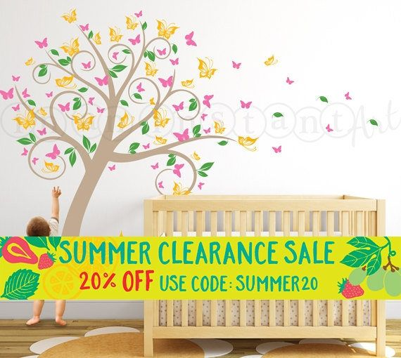 Butterfly Blossom Tree Wall Decal, Tree with Butterflies and Leaves for a Baby Nursery, Kids or Childrens Room 031