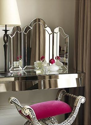 Art Deco Hollywood glamour mirrored vanity