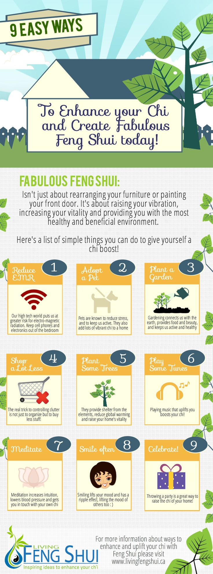 9 Easy Ways to Enhance your Chi and Create Fabulous Feng Shui - A Fun Feng Shui Infographic - #LivingFengShui
