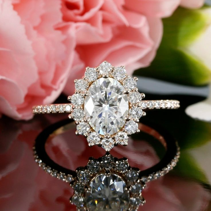 Oval Shape Diamond Halo Cluster Engagement Ring Mounting in 14K Rose Gold
