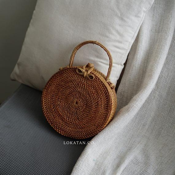 Handwoven Round Ata Grass Bali Bag Wicker Rattan Bag Summer Beach Bags