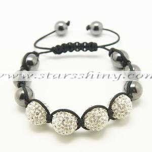 Clay Shamballa Bracelet, 14mm round clear clay rhinestone & 12mm hematite beads