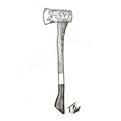 GOLD VAN: Hatchet, pen & ink - Timothy McAuliffe